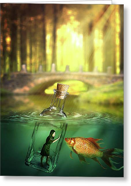 Greeting Card featuring the digital art Message In A Bottle by Nathan Wright