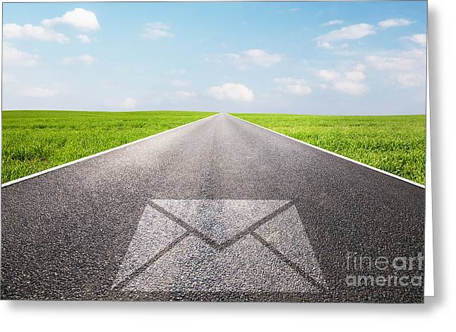 Message Symbol On Long Straight Road Greeting Card by Michal Bednarek