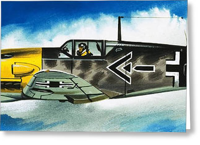 Messerschmitt Fighter Greeting Card by Wilf Hardy