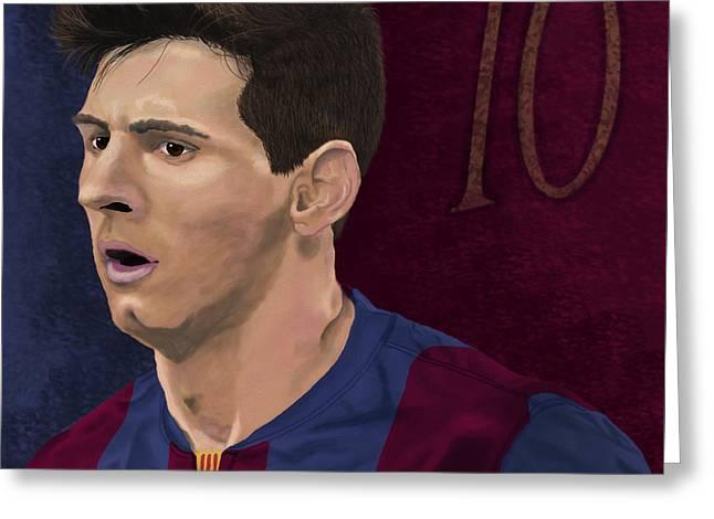 Messi-digital Oil Painting  Greeting Card by Nenad Arsikj