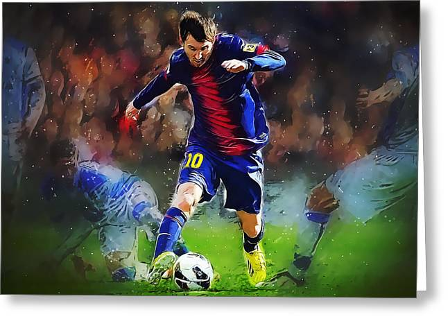 Messi Greeting Card by Semih Yurdabak
