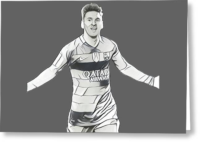 Messi Greeting Card by Vincenzo Basile