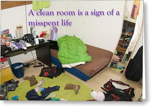Messy Teenager's Bedroom Greeting Card