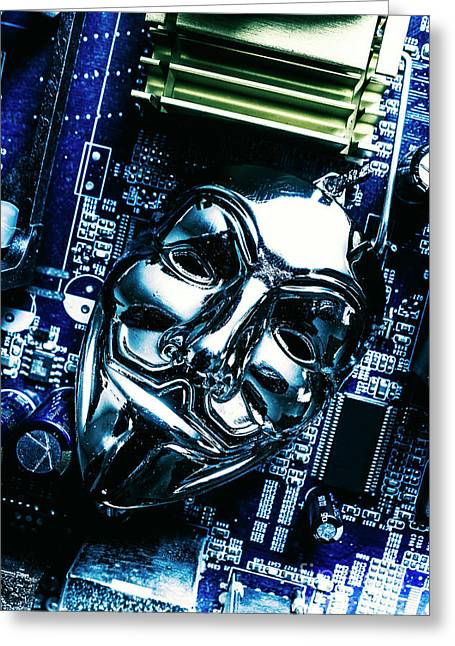 Metal Anonymous Mask On Motherboard Greeting Card by Jorgo Photography - Wall Art Gallery