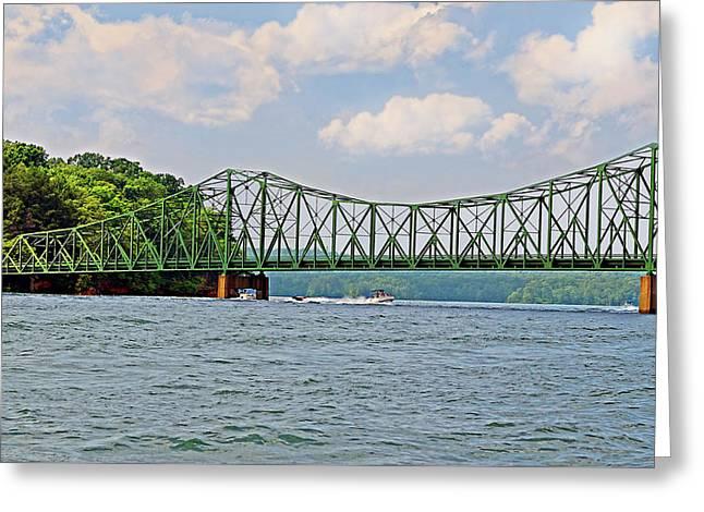 Metal Bridge Over A Lake Greeting Card