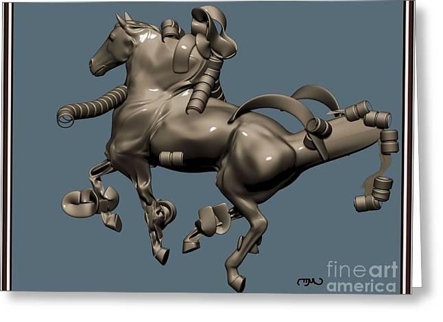 metal horse statue 40MHS1 Greeting Card by Pemaro