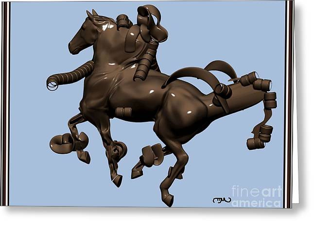 metal horse statue 45MHS1 Greeting Card by Pemaro