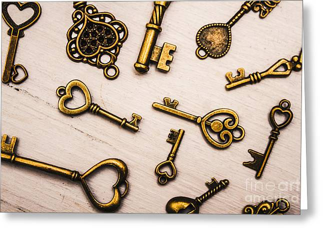 Metal Keys Of Different Size On Wooden Table Greeting Card by Jorgo Photography - Wall Art Gallery