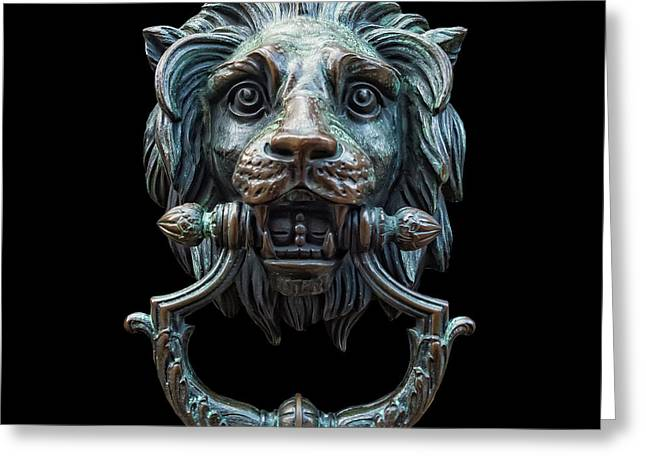 Greeting Card featuring the photograph Metal Lion Head Doorknocker Isolated Black by Antony McAulay