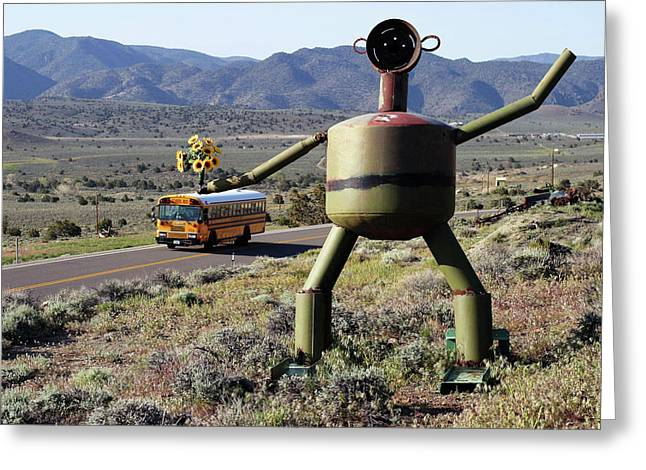 Metal Man And School Bus Greeting Card by Day Williams