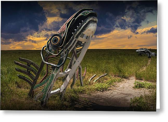 Metal Monster Emerging From The Earth Greeting Card by Randall Nyhof