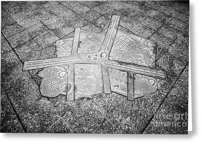 metal plaque in sidewalk on state street Boston showing the pre declaration of independence colonnia Greeting Card