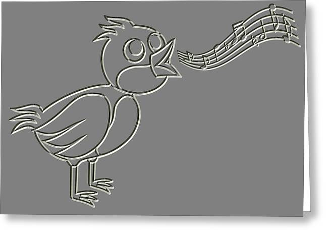 Metal Relief Singing Bird Greeting Card