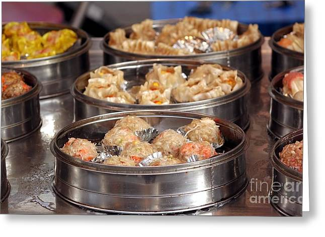 Metal Steamers With Dim Sum Dishes Greeting Card