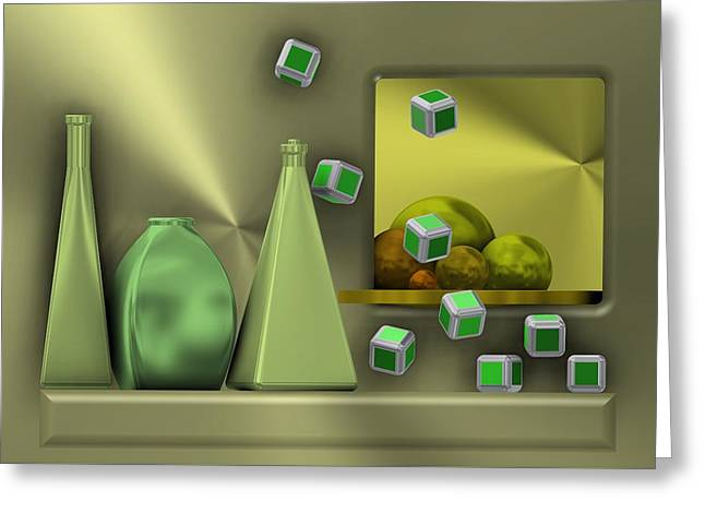 Metalic Still Life With Cubes Flying Greeting Card