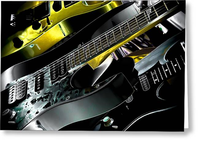 Metallic Guitars Greeting Card by David Patterson