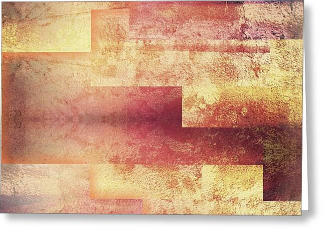 Metallic Red Gold Abstract Greeting Card by Brandi Fitzgerald