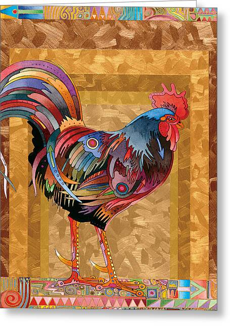 Metallic Rooster Greeting Card
