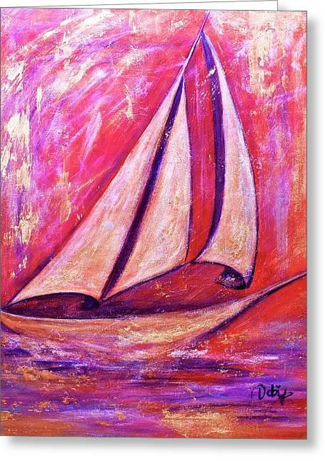 Metallic Sails Greeting Card by Debi Starr