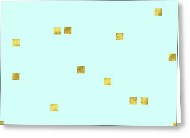 Metallic Square Confetti Print, Gold Squares On Aqua Greeting Card