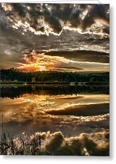 Metallic Sunset Greeting Card by Nathan Larson