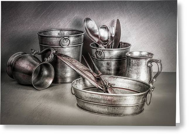 Metalware Still Life Greeting Card by Tom Mc Nemar