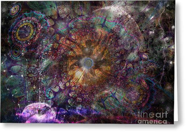 Greeting Card featuring the digital art Metamorphignition by Rhonda Strickland