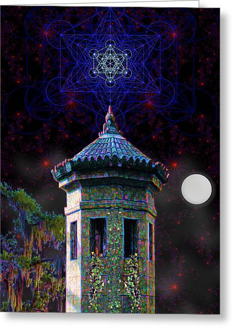 Greeting Card featuring the digital art Metatron Nocturnal by Iowan Stone-Flowers
