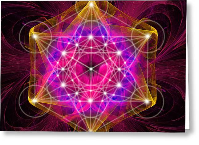 Metatron's Cube With Flower Of Life Greeting Card