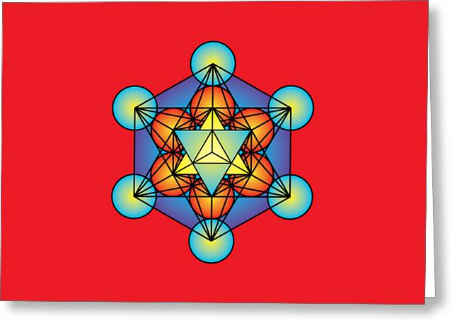 Metatron's Cube With Merkaba Greeting Card by Galactic  Mantra