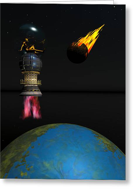 Meteor Chaser Greeting Card by Claude McCoy