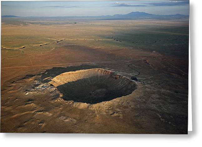 Meteorite Greeting Cards - Meteor Crater Is The Best Preserved Greeting Card by Stephen Alvarez