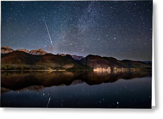 Meteor Over Sierra Nevada Greeting Card by Cat Connor