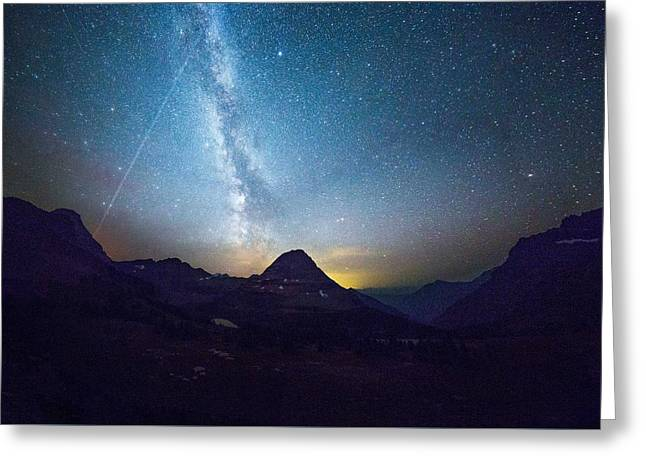 Meteor Shower // Hidden Lake, Glacier National Park Greeting Card