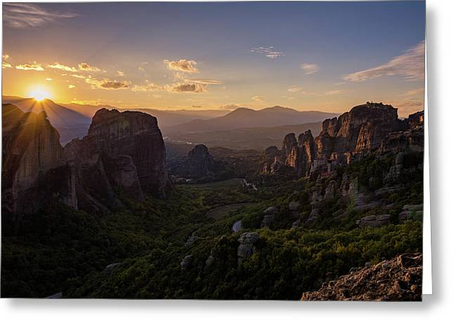 Greeting Card featuring the photograph Meteora Sunset by Nikos Stavrakas