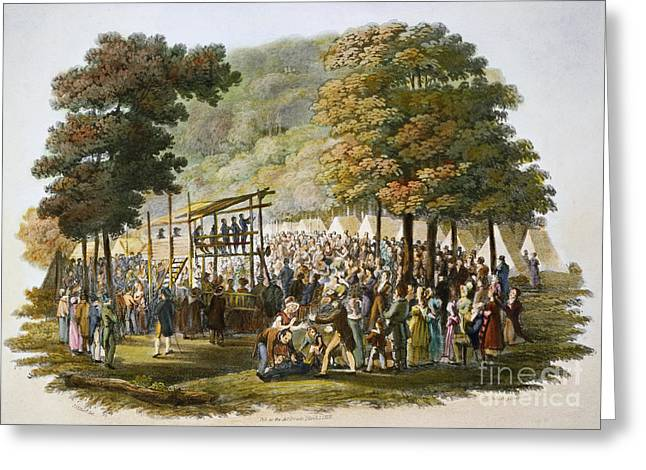 1819 Greeting Cards - Methodist Camp Meeting Greeting Card by Granger