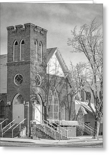 Methodist Church In Snow Greeting Card by The Couso Collection