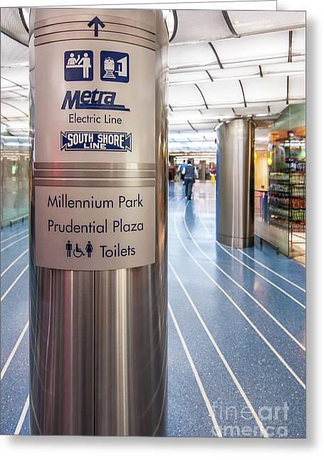 Metra Electric Line Column Sign Greeting Card