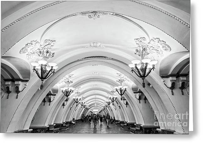 Greeting Card featuring the photograph Metro Arbatskaya by Delphimages Photo Creations