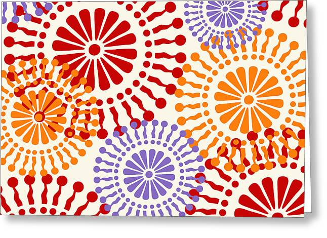 Metro Retro Circle Pattern Warm Greeting Card by Mindy Sommers