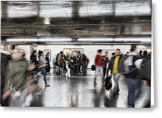 Greeting Card featuring the photograph Metro Rush by Kim Wilson
