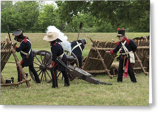 Mexican Artillery Performers At The Annual Battle Of San Jacinto Festival And Battle Reenactment Greeting Card