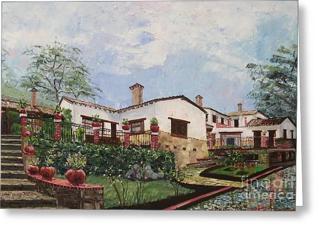 Mexican Hacienda After The Rain Greeting Card by Judith Espinoza