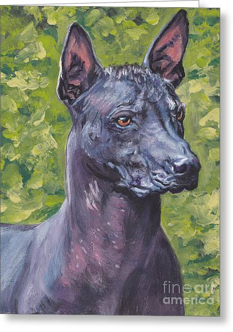 Greeting Card featuring the painting Mexican Hairless Dog Standard Xolo by Lee Ann Shepard