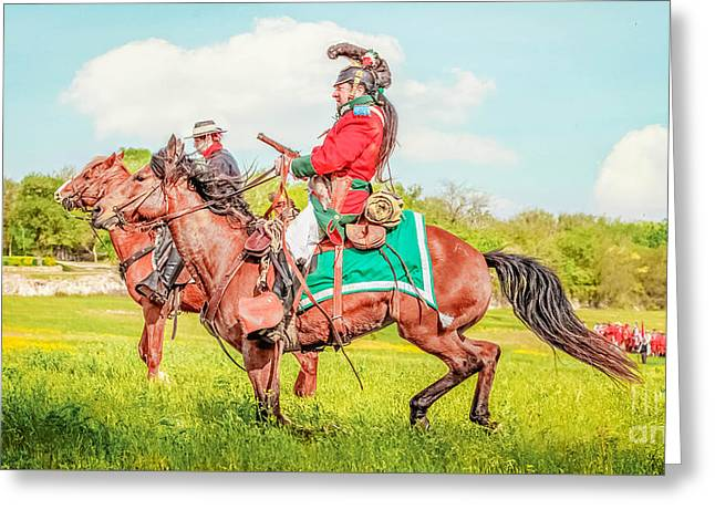 Mexican Horse Soldiers Greeting Card by Kim Henderson
