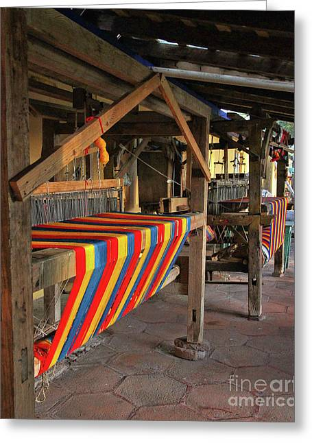 Mexican Rug Looms Greeting Card by Rebecca Snyder