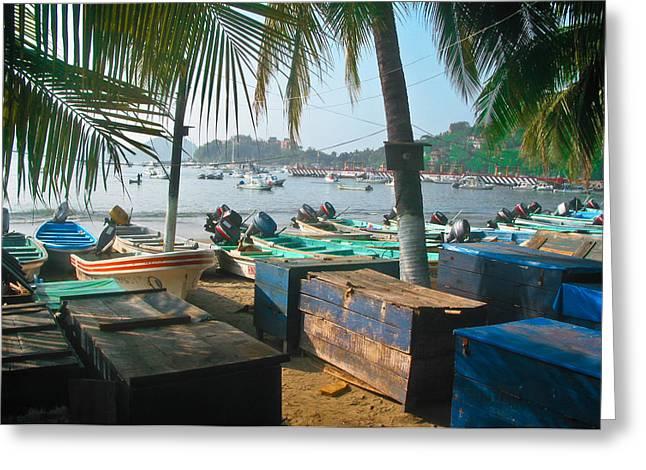 Mexico Fishing Cove Greeting Card by William Furguson