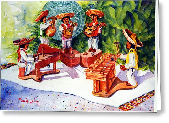 Mexico Mariachis Greeting Card by Estela Robles