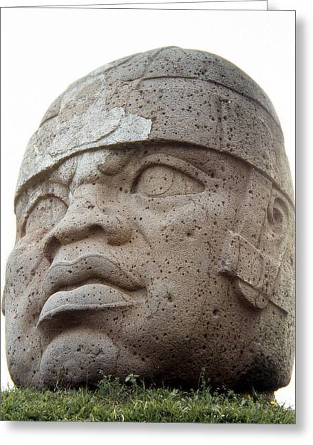 Primitive Sculpture Greeting Cards - Mexico: Olmec Head Greeting Card by Granger