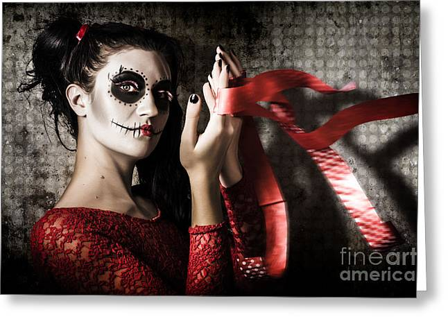 Mexico Sugar Skull Girl Performing Death Dance Greeting Card